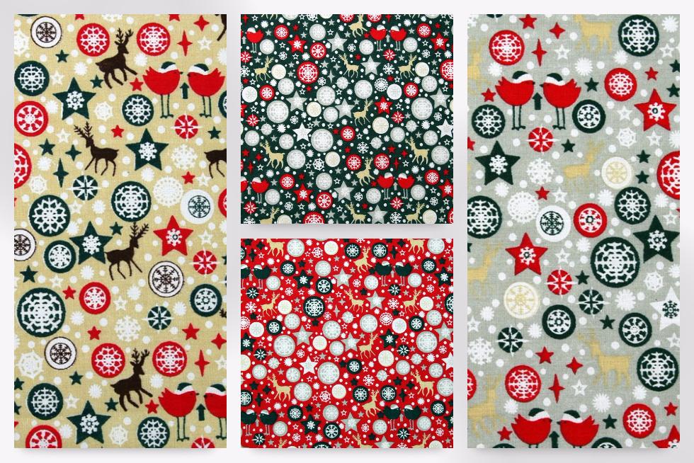 Christmas Birds Print Polycotton Dress Fabric EM-PC116-Bottle-M