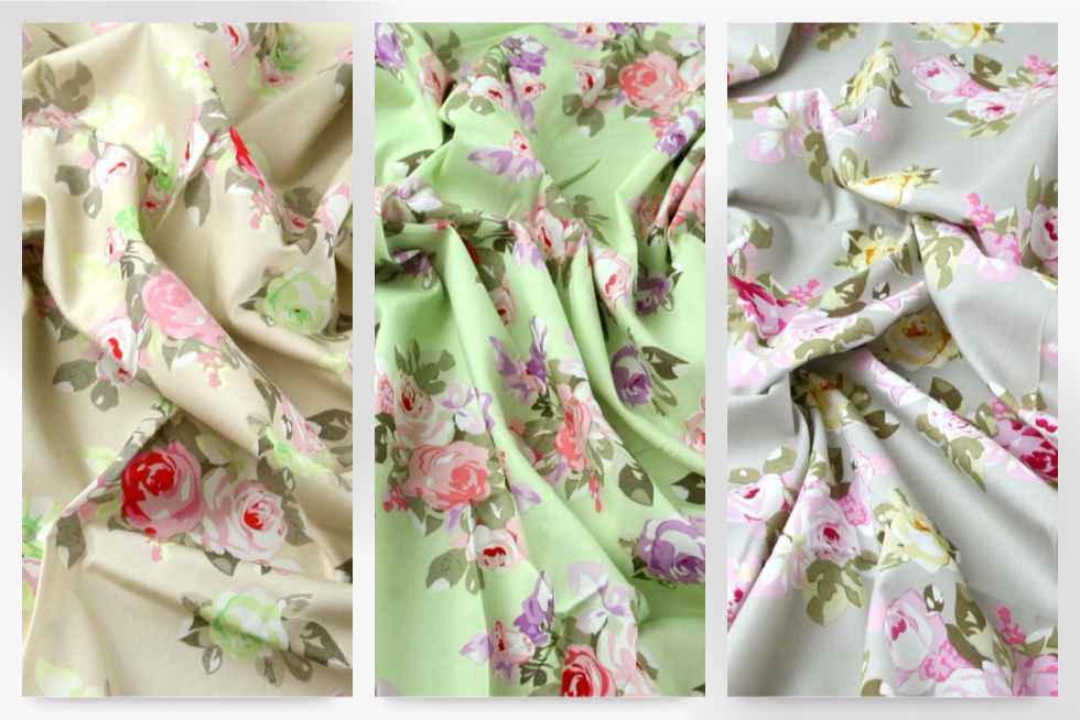 Vintage Style Pastel Floral Print Cotton Poplin Dress Fabric (JL ...