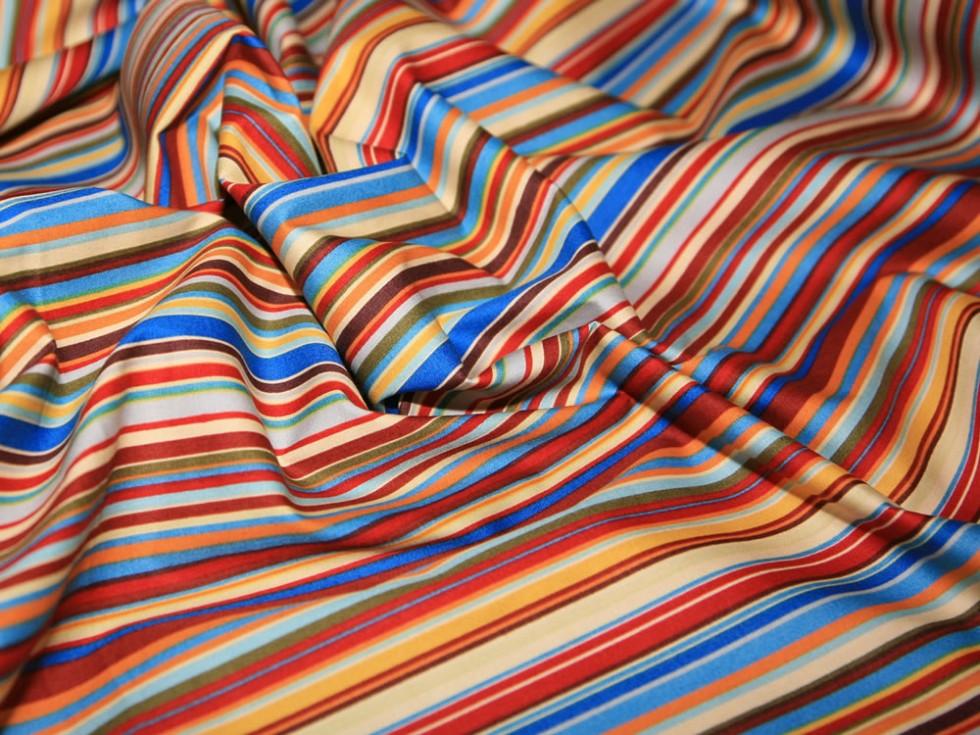 Retro Stripes Print Cotton Poplin Fabric (CP0198-M)