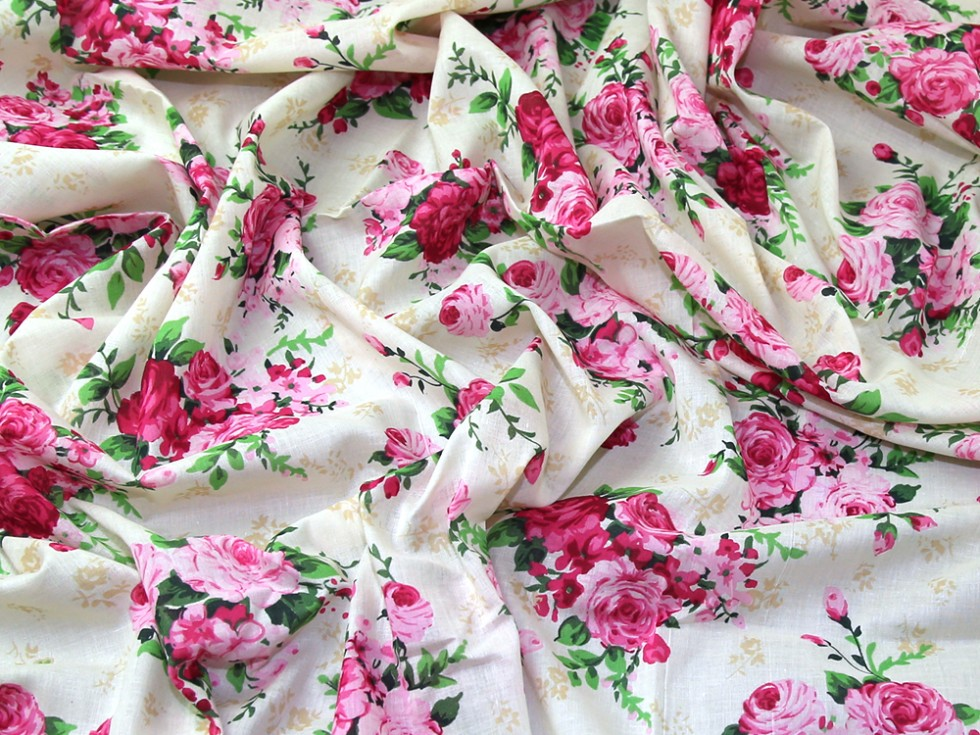 Vintage Style Floral Print Fine Cotton Voile Dress Fabric (EM-546 ...