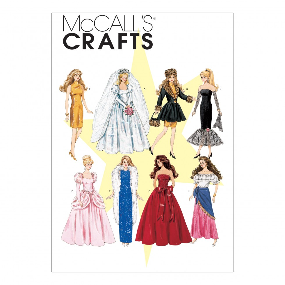 Free sewing patterns for fashion dolls -  Free Uk P P Mccalls Crafts Sewing Pattern 6232 Fashion Doll Clothes