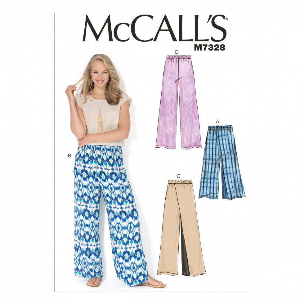 Free UK P&P - McCalls Ladies Easy Sewing Pattern 7328 Wide Leg ...