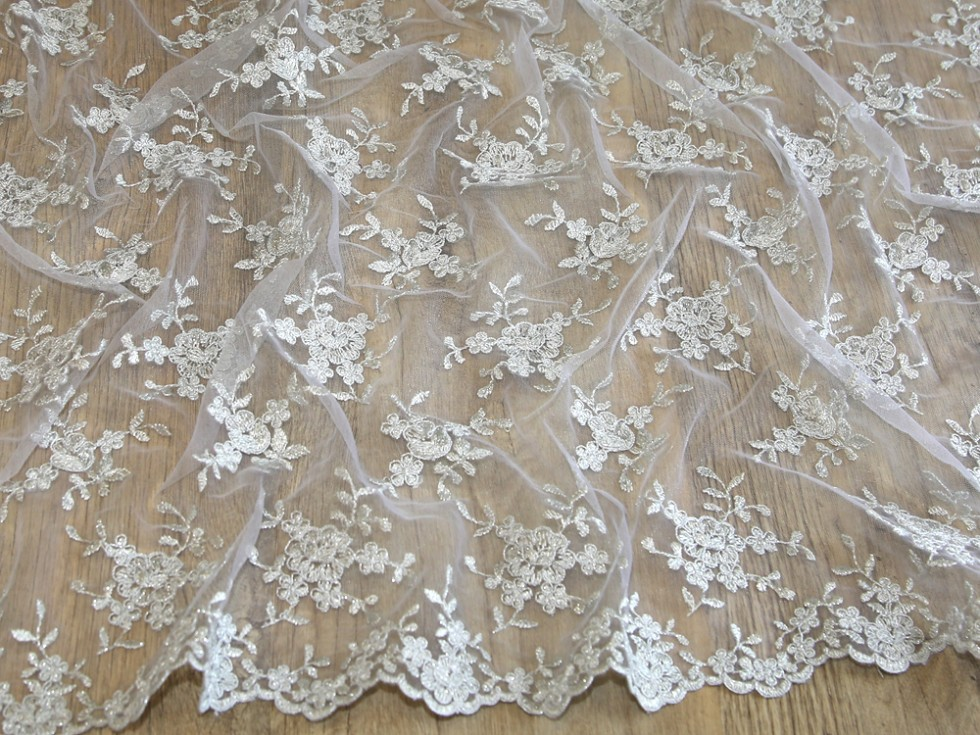 Embroidered scalloped edge couture bridal lace fabric mv for Bridal fabric