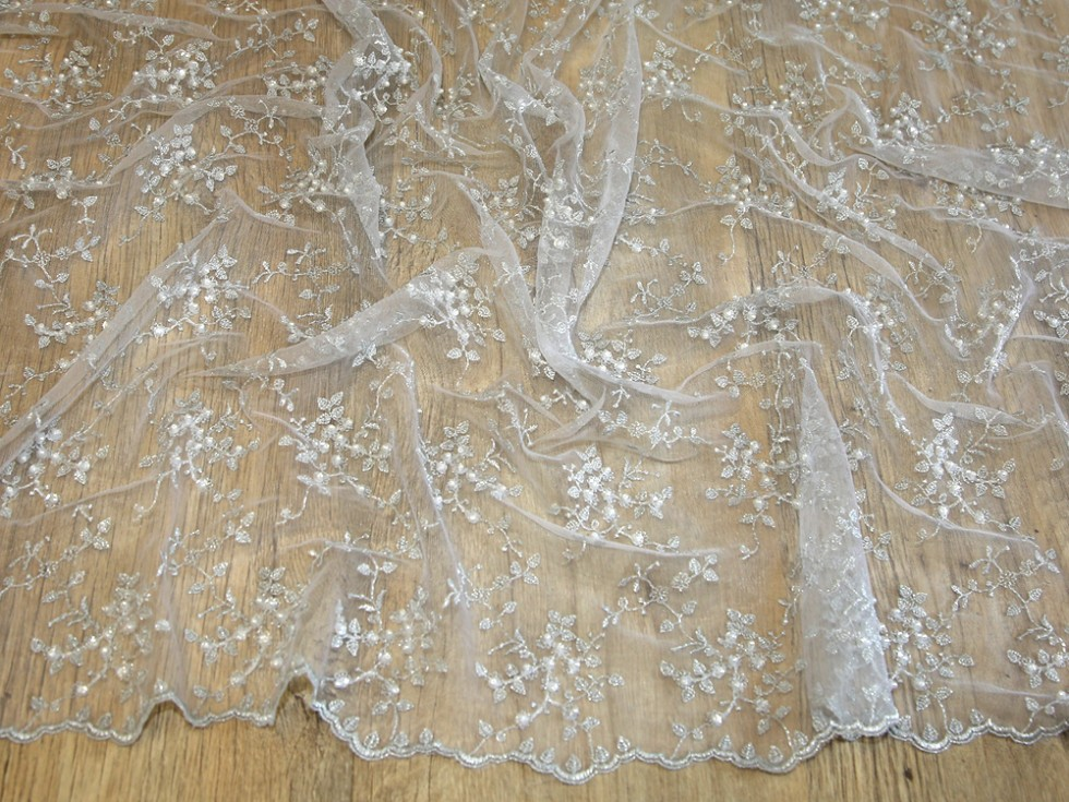 Delicate beaded scalloped edge couture bridal lace fabric for Bridal fabric