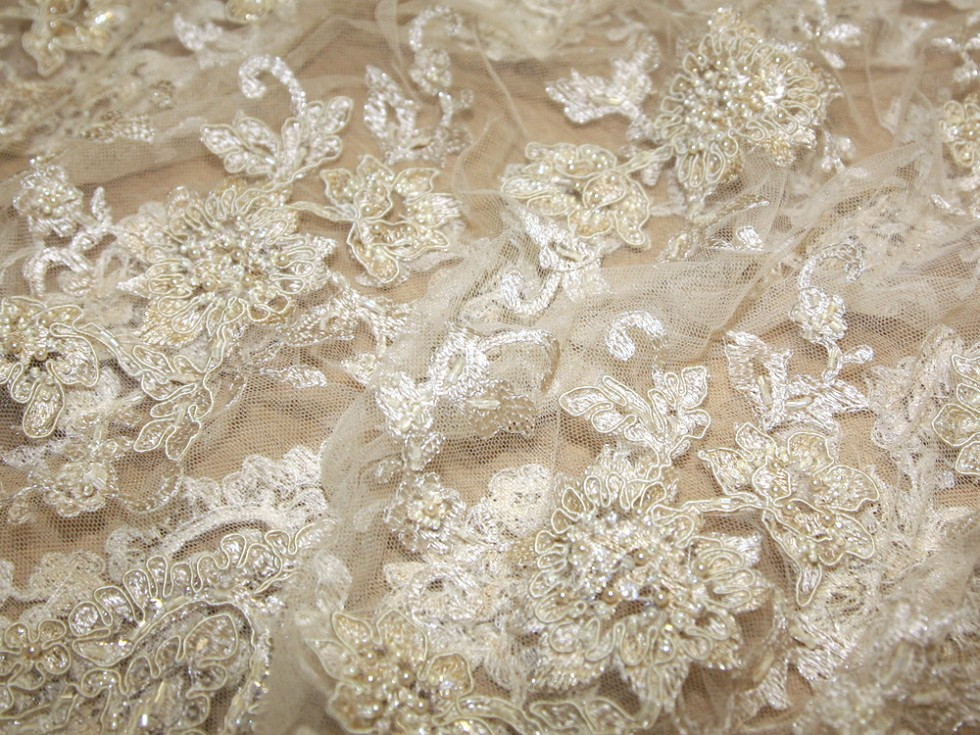 zara heavily beaded corded couture bridal lace fabric