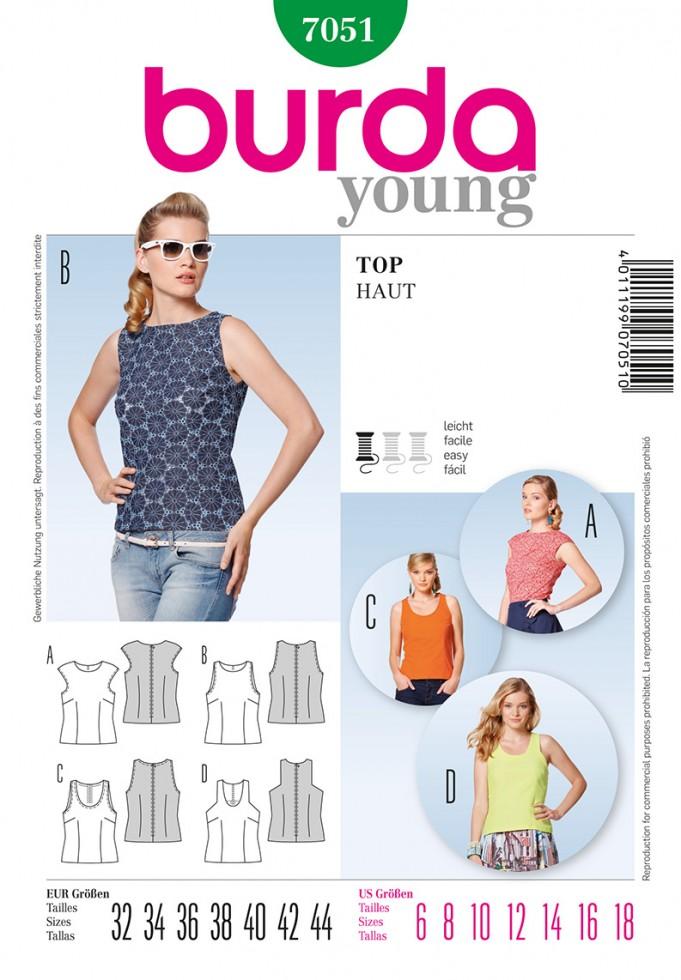 Burda Ladies Easy Sewing Pattern 7051 Summer Tops (burda-7051) | eBay