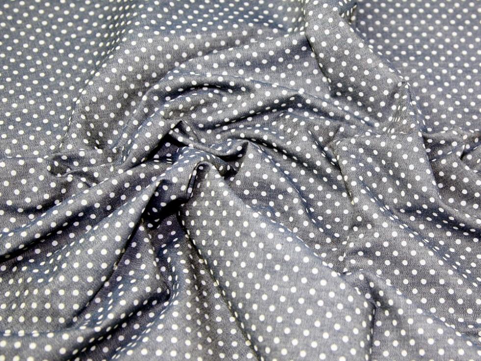 Spot print cotton chambray denim dress fabric chambrayspot m for Chambray fabric