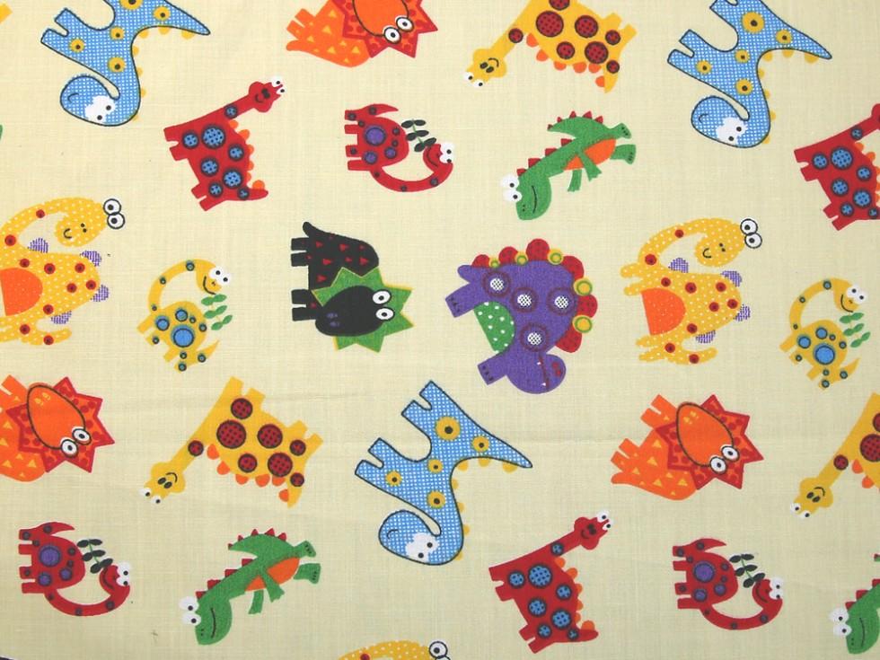 Dinosaur print polycotton dress fabric dino 15001 m ebay for Kids dinosaur fabric