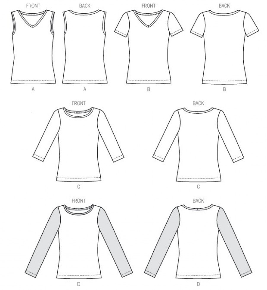 Mccalls Ladies Easy Sewing Pattern 6964 Jersey T Shirt
