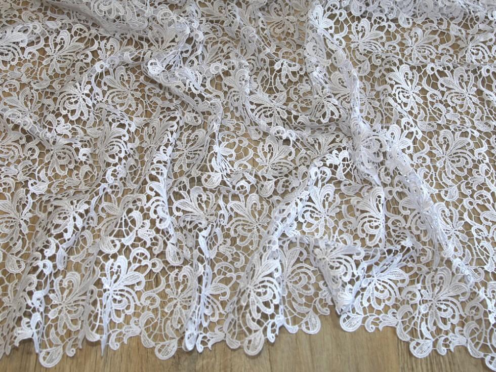 Scalloped Edge Couture Bridal Heavy Guipure Lace Fabric