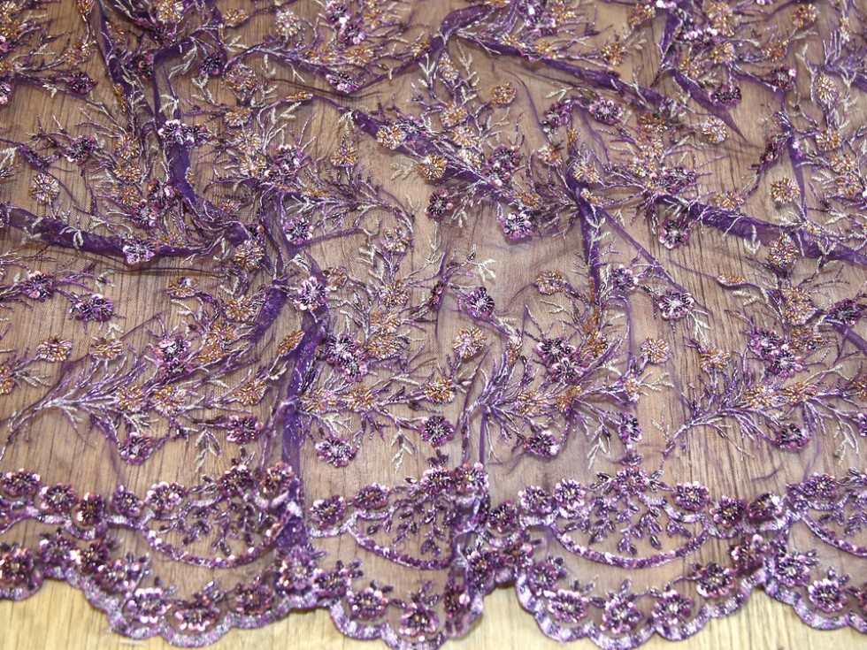 Beaded scalloped edge couture bridal lace fabric mv hh305 for Bridal fabric