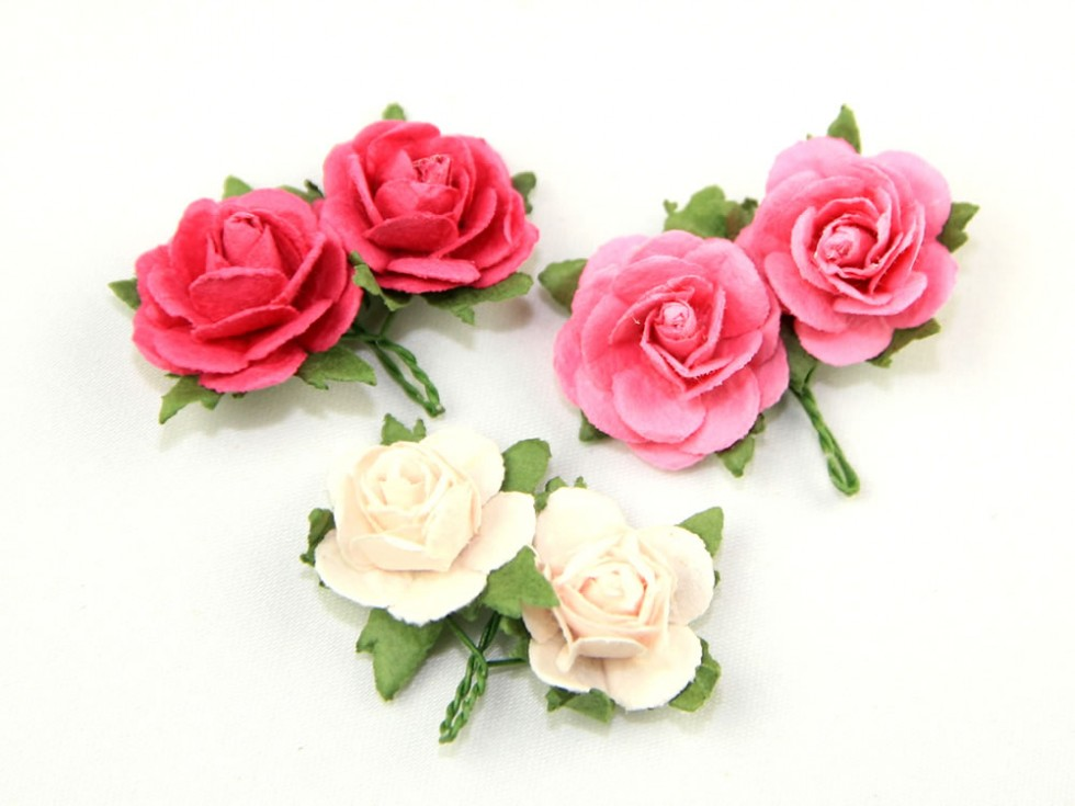 Paper flower roses on wire stems per pack of 6 pp714 m ebay paper flower roses on wire stems per pack mightylinksfo